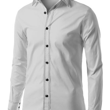 Mens Slim Fit Button Down Shirt with Double Stitch