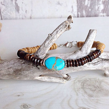 Mens turquoise bracelet, unisex beaded bracelet, surfer bracelet, beaded mens jewelry, wood bracelet, natural bracelet, stacking bracelet