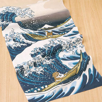 Tenugui Towel, Hand Dyed Fabric, Hamamonyo, Shiba Inu in Great Wave, Free Shipping to the US and Canada!