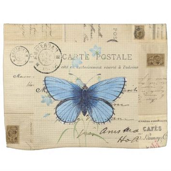 Vintage Blue Butterfly French Postcard Towel