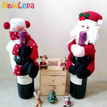 Christmas Snowman Santa Claus Gift For Wine Bottle Decorations Supplies Ornament Home Da Decoracao De Natal Adornos Navidad