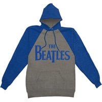 Beatles Men's  Raglan Logo Hooded Sweatshirt Heather Rockabilia