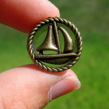 "Pair of Antique Brass Sailboat Tunnels - Nautical - Sailor - Girly Plugs - Feminine Gauges - 1/2"", 9/16"", 5/8"" (12mm, 14mm, 16mm)"
