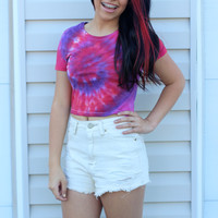 Red, Fuchsia, and Purple Tie-Dye Crop Top