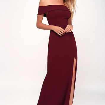 Aveline Burgundy Off-the-Shoulder Maxi Dress
