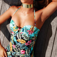 FASHION LEAVES PRINTED ONE PIECE SWIMSUIT 1910560
