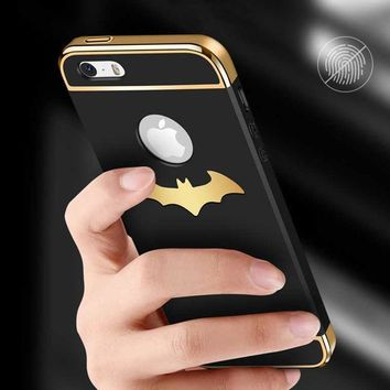 Batman Dark Knight gift Christmas Luxury Batman PC Hard Phone Case For iPhone 5 5S Coque High Quality Protection 3-in-1 Plating Back Cover For iPhone SE Case AT_71_6