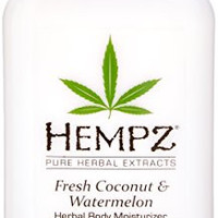 Hempz Herbal Body Moisturizer, Pearl White, Fresh Coconut/Watermelon, 17 Fluid Ounce