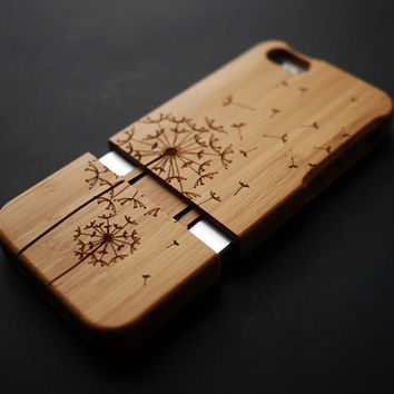 Dandelion Bamboo Wood iPhone 4s Case - Custom iPhone 4 Case - iPhone 4s Phone Cases - Wooden iPhone 4 4s Case - iPhone 4 4S Case Wood - Gift