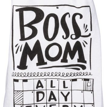 Boss Mom All Day Everyday Puzzle Dish Towel in White