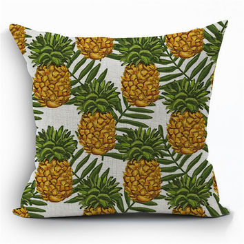 Pineapple Flower Fruit Tropical Decorative Pillow Geometric Vintage Home Decor Office Chair Cushion For Sofa Throw Pillow d271