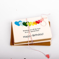 Birthday Cards Set with Stitched Colorful Heart Bunting, Signed Inside with your note - SET OF 8