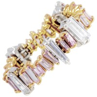 Pink and White Diamond Baguette Ring