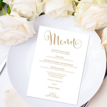 "Menu Template - Instant Download - Editable Text - ""Bella"" Antique Gold - 5 x 7 - DOCX template"