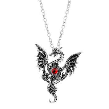 MQCHUN 2018 New Necklace Fly Dragon Wings Crystal Charms Pendant Necklace Vintage Gothic Accessories Jewelry for Men Women