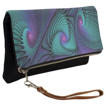Purple meets Turquoise modern abstract Fractal Art Clutch