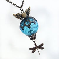 Whimsical Flight - Hot Air Balloon Pendant Necklace Jewelry Jewellery