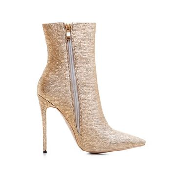 Designer Gold Glitter Pointed Toe Ankle Boots