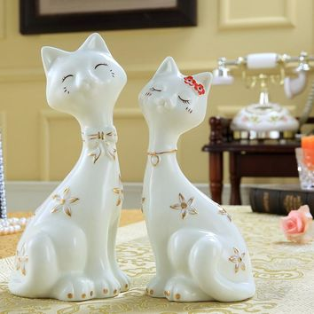 Japanese Style Ornamental Ceramic Porcelain Cat Figurine Statues