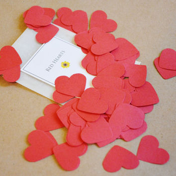 Red Heart Confetti - Hand Punched Wedding Confetti - Baby Shower Confetti - Party Decor - Biodegradable Confetti - Pack of 100 - 1 Inch