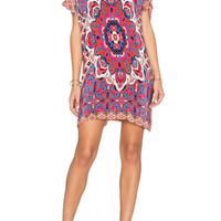 Multicolor Tribe Pattern Short Sleeve Shift Dress