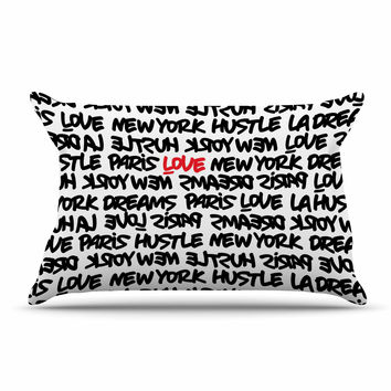 "Just L ""Lux Writing Wth Blk Red"" Urban Typography Pillow Sham"