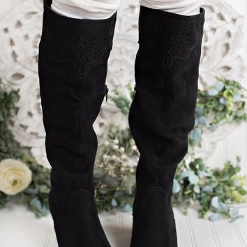Somebody Else Not Rated Cutout Boots (Black)