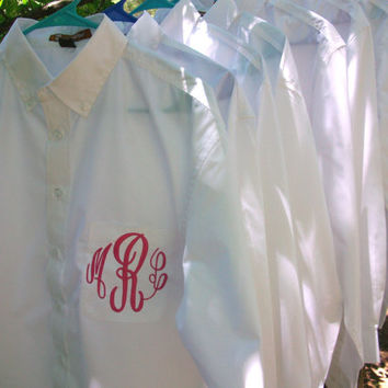 Monogrammed Button Down shirt Bride or Bridesmaid by maryandlucy