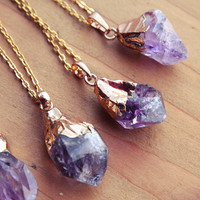 Gold Dipped Raw Amethyst Crystal Drop Necklace - Rough Clear Purple Spike Point Cluster Sterling Silver Plated Chain, Natural Layering