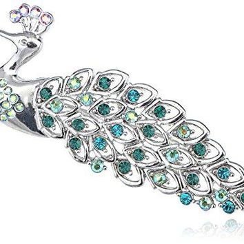 Alilang Synthetic Emerald AB Crystal Rhinestone Iridescent Blue Feather Peacock Animal Brooch Pin
