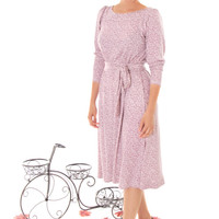 Winter sale - Lilac printed modest midi dress with long sleeve