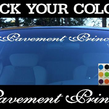 Pavement Princess Windshield Visor Die Cut Vinyl Decal Sticker