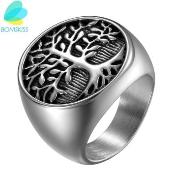 Boniskiss Punk Men Silver Tree Of Life Ring Casting Stainless Steel Life Tree Rings For Men Ring Jewelry Bague Homme