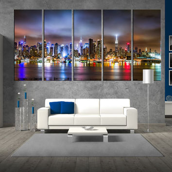 New york skyline wall art canvas print, new york night wall art, extra large wall art, large new york skyline canvas art print t392