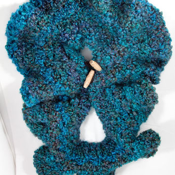 Warm Scarves for women, Crocheted neck warmer - Turquoise Scarf - Scarf with Buttons - Cowl with Buttons - Warm Scarf - Unique Scarf