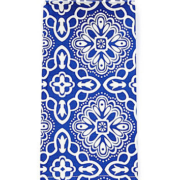Aman Imports Diamond Print Napkins - White/Blue