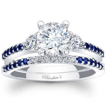 Barkev's 14K White Gold Blue Sapphire Diamond Three Stone Engagement Ring