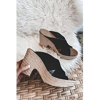 CHINESE LAUNDRY Quay Wedge Black Sandals