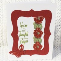 Sympathy Cards Handmade Set of Two Red and Green by luvncrafts on Zibbet
