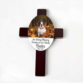 Pet Memorial Cross - Custom Dog Memorial Gift - Pet Memorial Personalized Cross