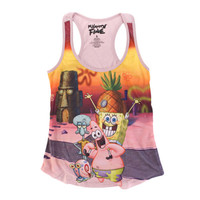 Spongebob Squarepants Group Sunset Juniors Pink Tank Top Shirt