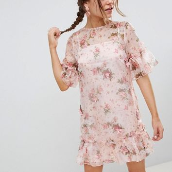 ASOS DESIGN Mini Shift Dress In Pretty 3D Floral at asos.com