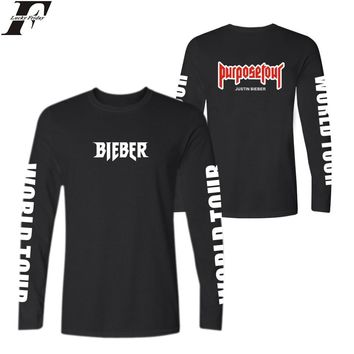 LUCKYFRIDAYF Fashion Justin Bieber Casual Trend T-shirts Kanye West Cotton TShirt Plus Size and PurposeTour Long Sleeve T Shirts