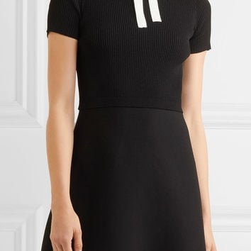 Valentino - Ribbed stretch-knit and stretch-cady mini dress