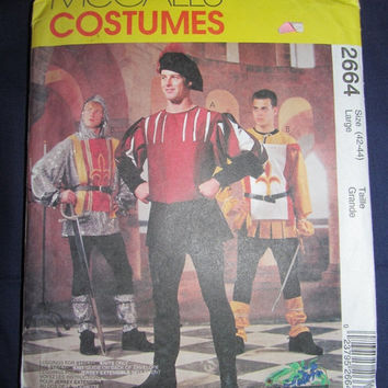 Spring Fever Sale UnCut McCall's Sewing Pattern, 2664! Size Large, Mens 42-44, Medieval, Knights Costume, 3 Musketeer's, Prince Charming, Ha
