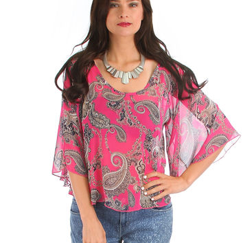 MAGENTA PAISLEY PRINT RELAXED FIT TOP