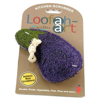 Loofah-Art Natural Kitchen and Household Scrubber, Eggplant