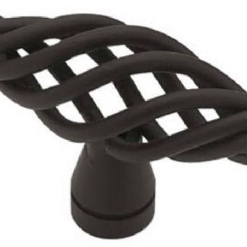 "Liberty PN0528H-FB-C Small Birdcage Oval Knob, 2"", Flat Black"