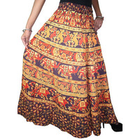 Mogulinterior Boho Maxi Skirt Cotton Animals Printed Hippie Boho Peasant Long Skirts