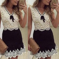 lace embroidery sleeveless dress
